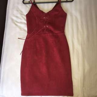 Red Burgundy Suede Midi Dress