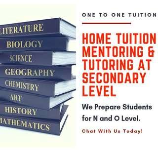 Secondary Tuition | O Level Home Tuition | O Level Tutors | English Literature Mathematics eMaths aMaths Mathematics POA Accounts Accounting Pure Combined Science Physics Chemistry Biology Geography History Higher Chinese | 1 to 1 Private Tuition Teacher