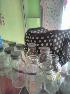Botol kaca untuk ASI brlum pernah dipakai eks.kado minus 3 botol tanpa tutup plus icebag 1