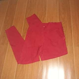 Red Fitted Pants