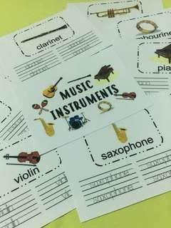 Tracing Activity Cards - Music Instruments
