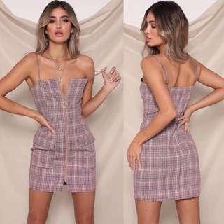 🚚 INSTOCKS Zip Front checkered dress - pink