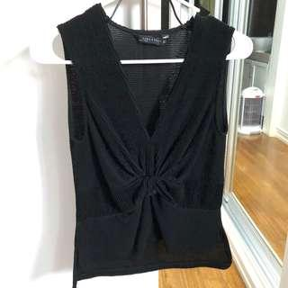Zara black knotted top
