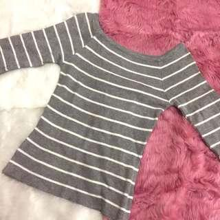 Zara Inspired Gray Striped Knitted Off Shoulder Top