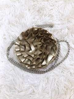 Gold metal chain bag