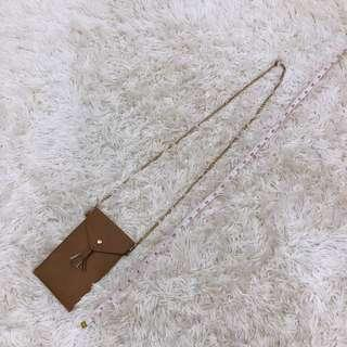 Brown small Gold chain bag