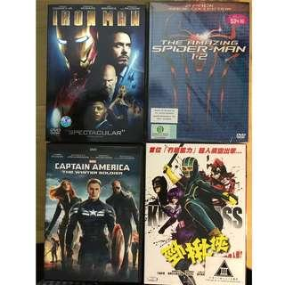 DVDs - Set of 5 (Iron Man/The Amazing Spiderman 1 + 2/Captain America - The Winter Soldier/Kick-Ass)