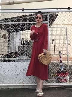 [PO] Buckle Waist Dappling Maxi Dress in Red