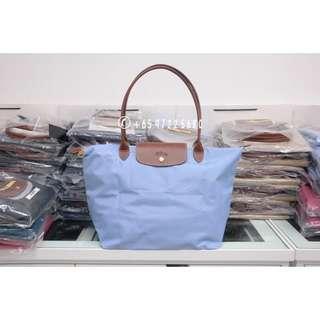 40b32031368e Longchamp Le Pliage Long Handle Large Lilac Blue 1899 089 A30
