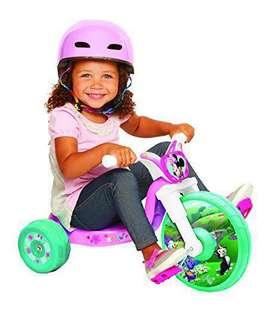 ~Ready Stocked- Disney Princess Princess Heart Strong Fly Wheel Ride-On Tricycle Ride On Vehicle junior cruiser in Pink/White/Teal