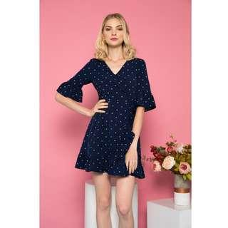 🚚 BN TSW Serafina Polka Dot Ruffles Dress in Navy