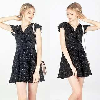 Lovet Polka Dot Tie-String Ruffles Wrap-Dress (Black)