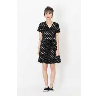 🚚 AforArcade Kit Polkadot Swing Dress in Black
