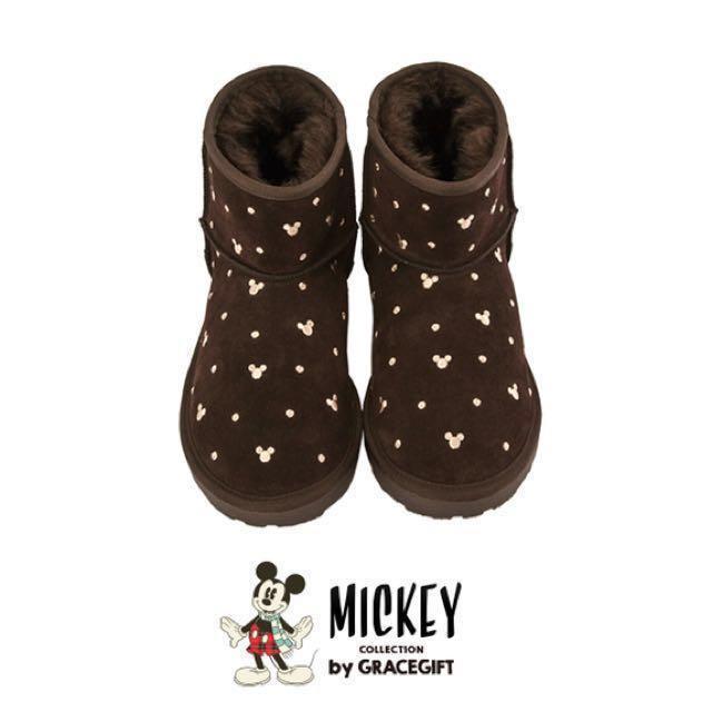 (二手)米奇點點短筒雪靴-咖(無防塵袋)