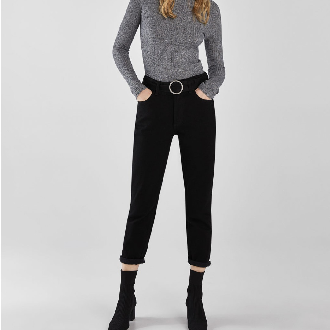 780217193 Bershka High waist mom jeans with belt, Women's Fashion, Clothes ...