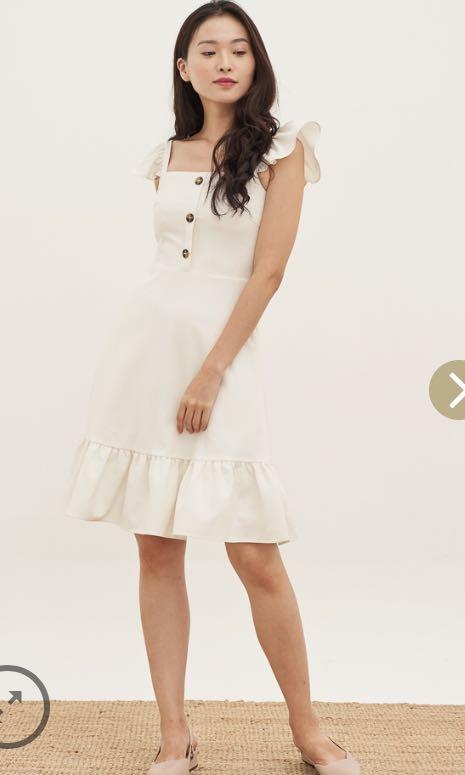 a2f5944beaaa Bnwt lovengold Ginny ruffles shoulder dress in white, Women's ...