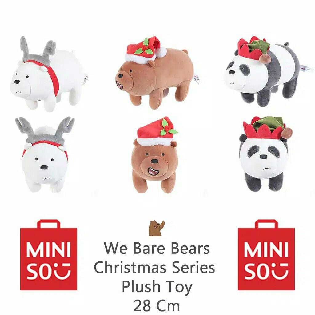 BONEKA MINISO WE BARE BEARS WBB EDISI CHRISTMAS NATAL NEW EDITION 28CM, Toys & Collectibles, Toys on Carousell