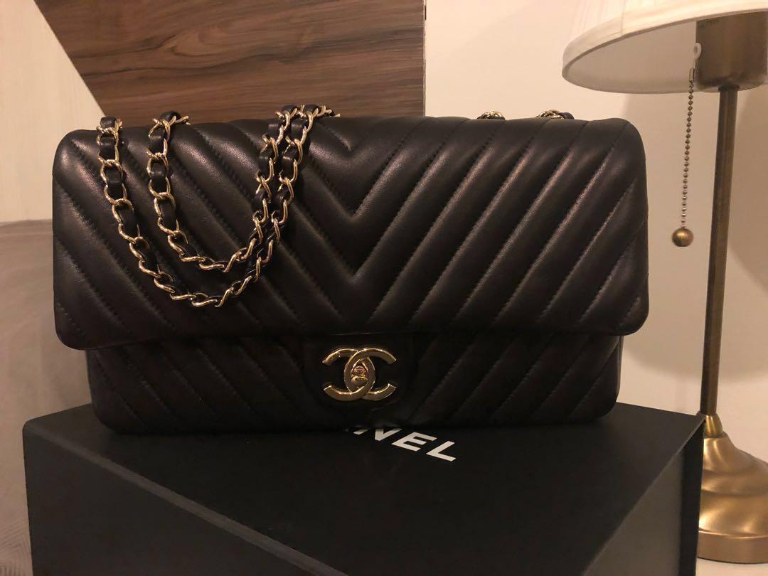 961daf014507 Chanel Lambskin Surpique Chevron Medium Flap, Luxury, Bags & Wallets ...