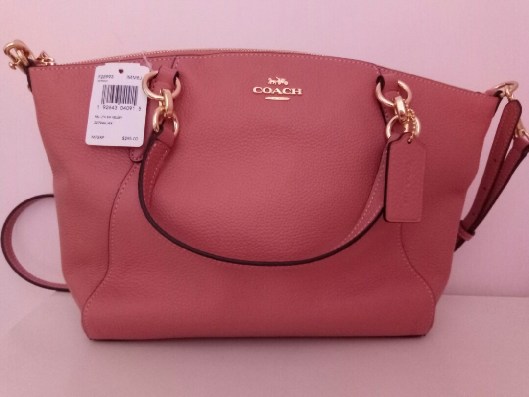 ccfd952e14 Coach Pebble Leather Small Kelsey Crossbody Bag Melon   F28993 ...