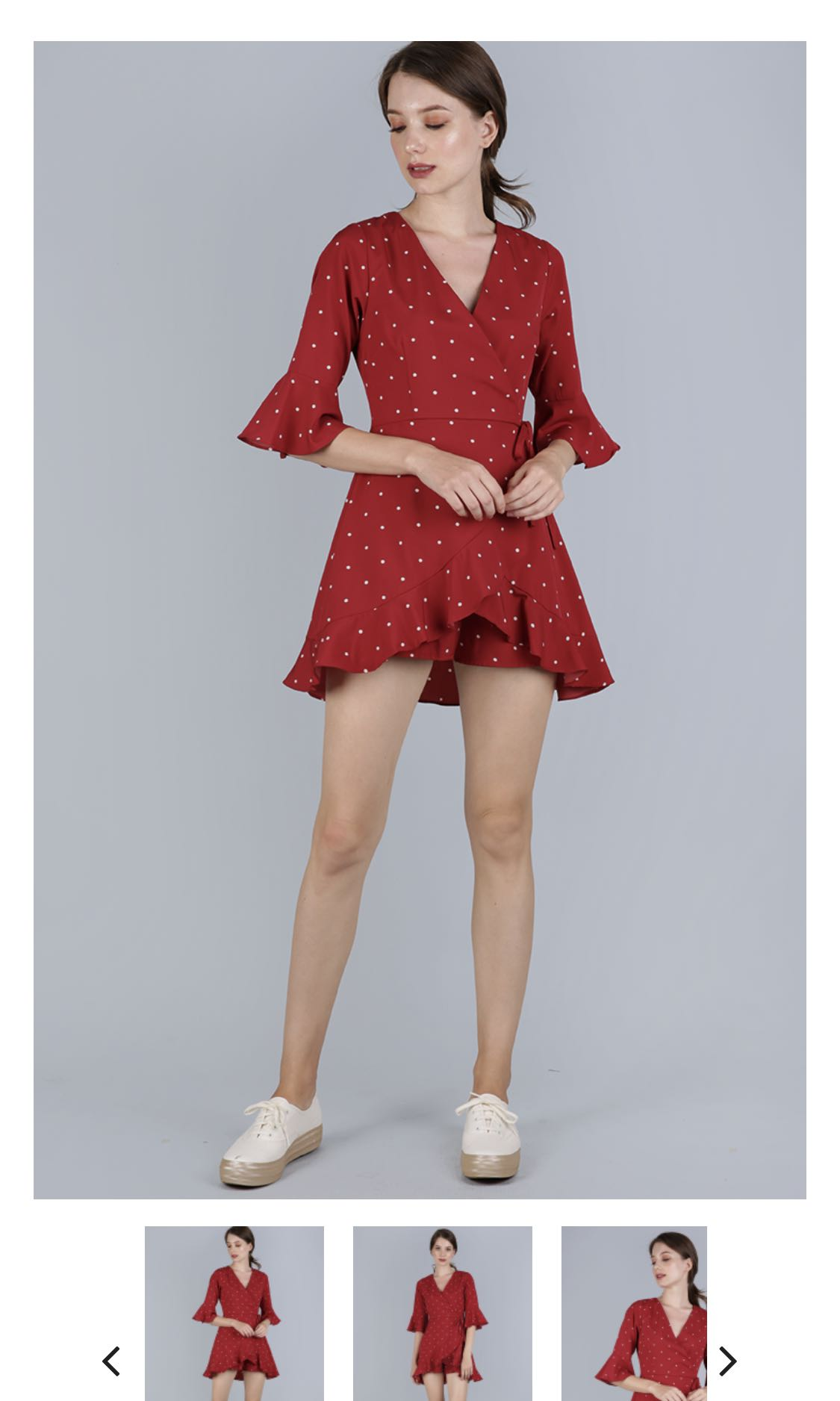 6971256898fd Hyacinth frilly romper (red polka dots) TTR