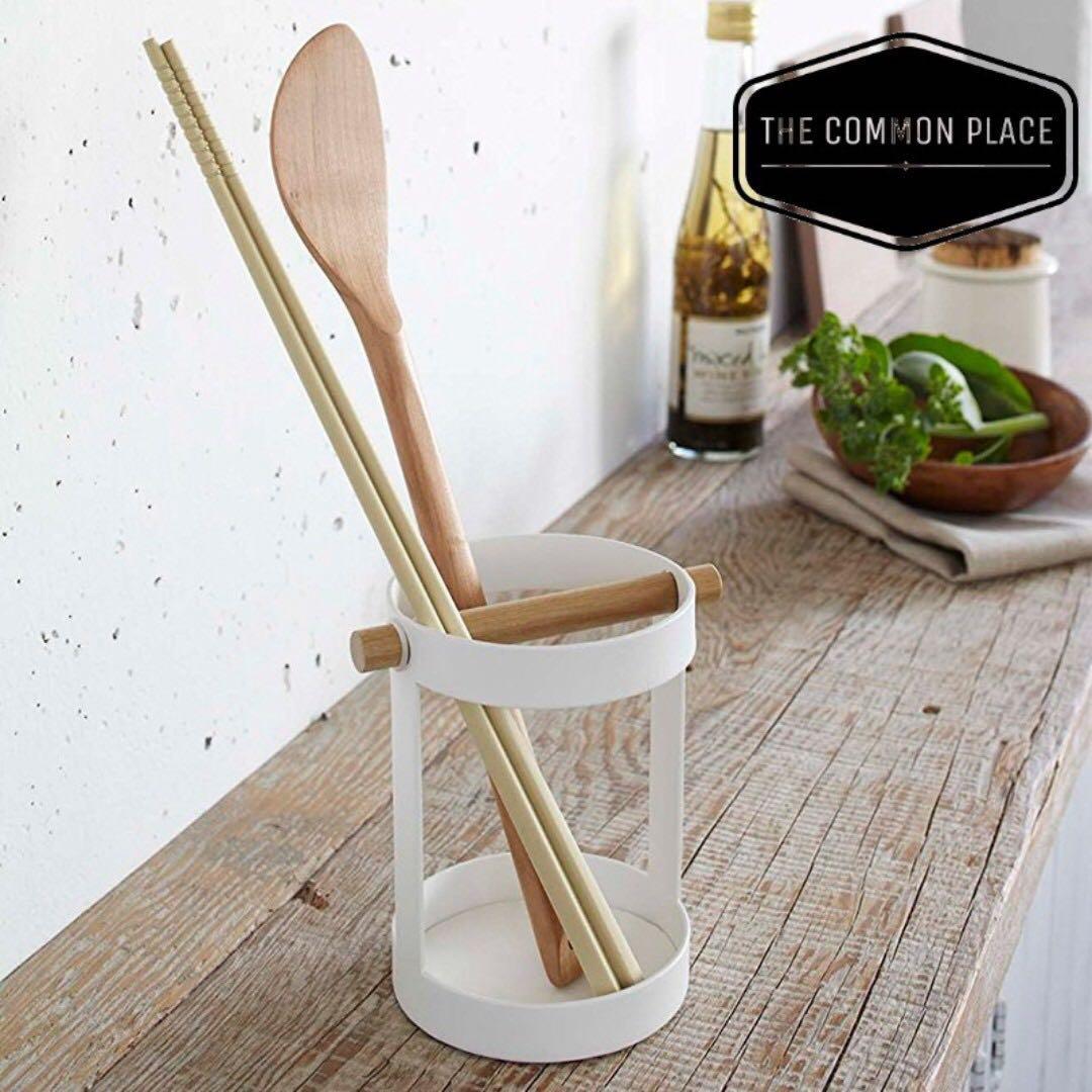 Instock Wooden Round Cutlery Kitchen Cooking Utensils Holder Storage Cup Scandinavian Organizer