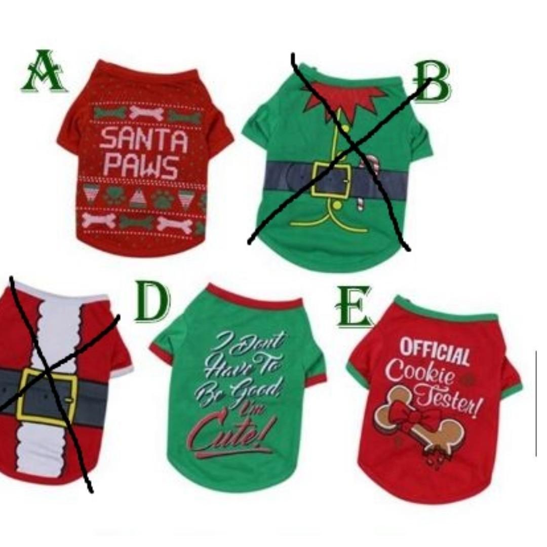 8c27b142f492 INSTOCKS Christmas Dog cotton Tee-shirt, Pet Supplies, For Dogs, Dog ...