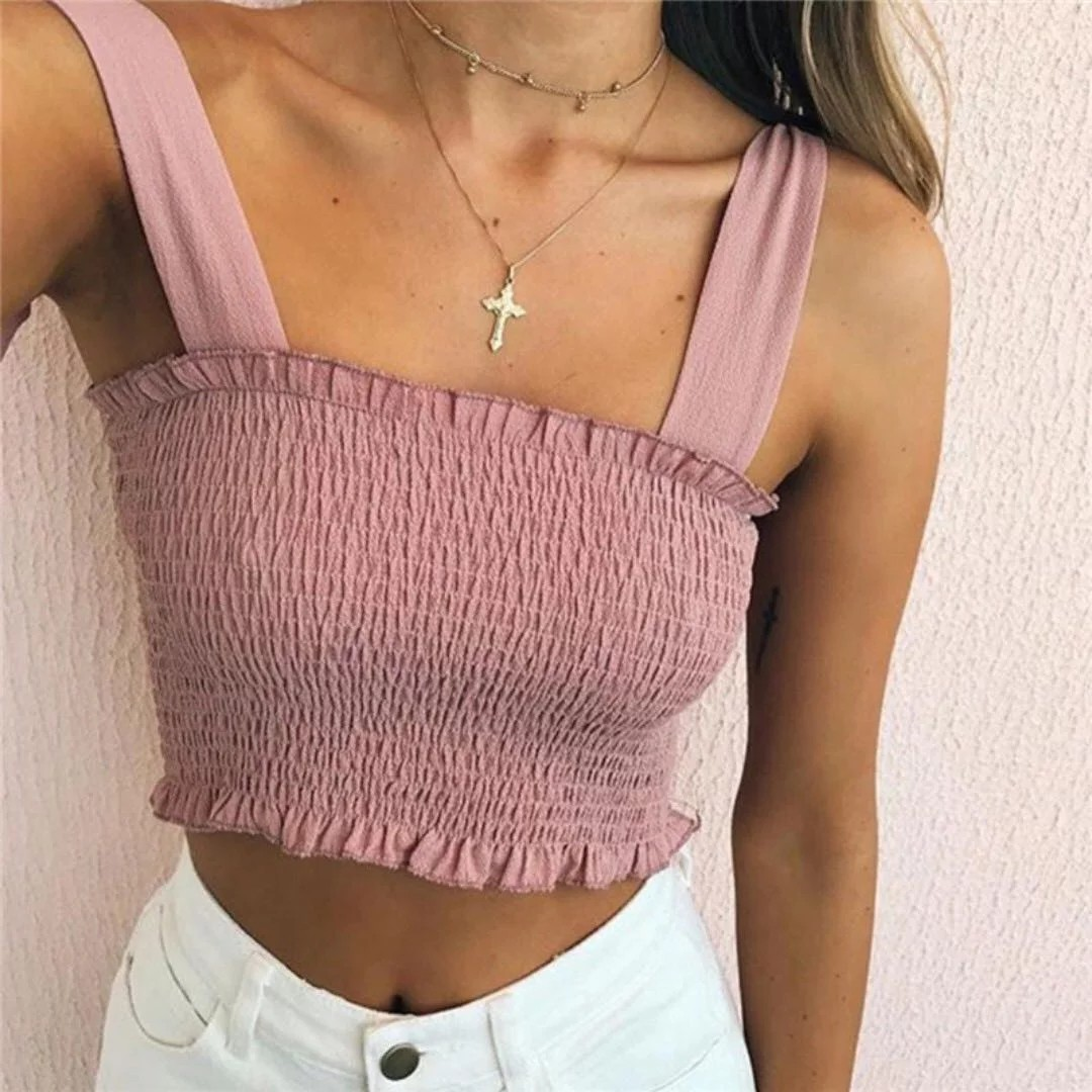 1a7e8c03860561 INSTOCKS pink tie up smocked crop top