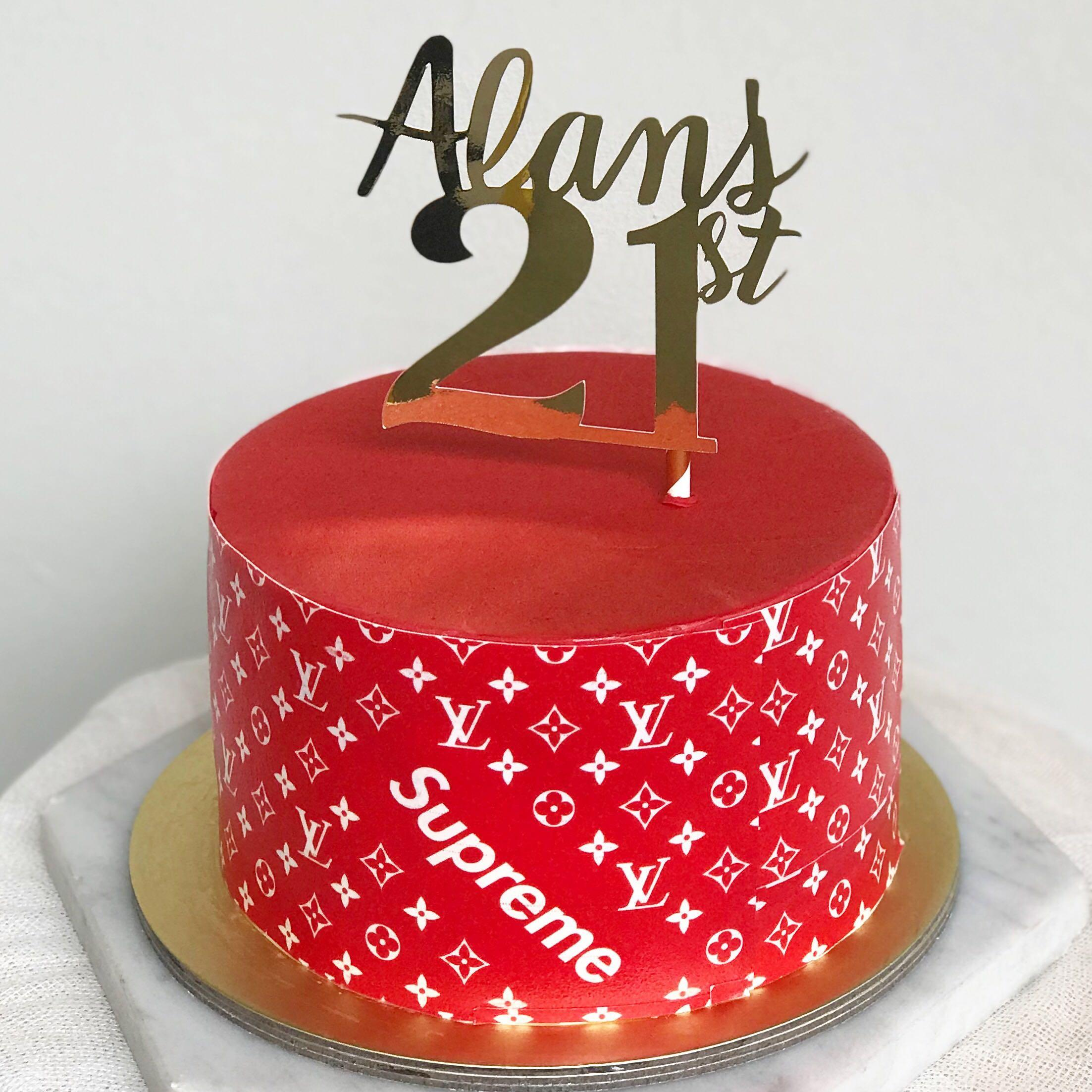 Louis Vuitton X Supreme Cake, Food & Drinks, Baked Goods On Carousell