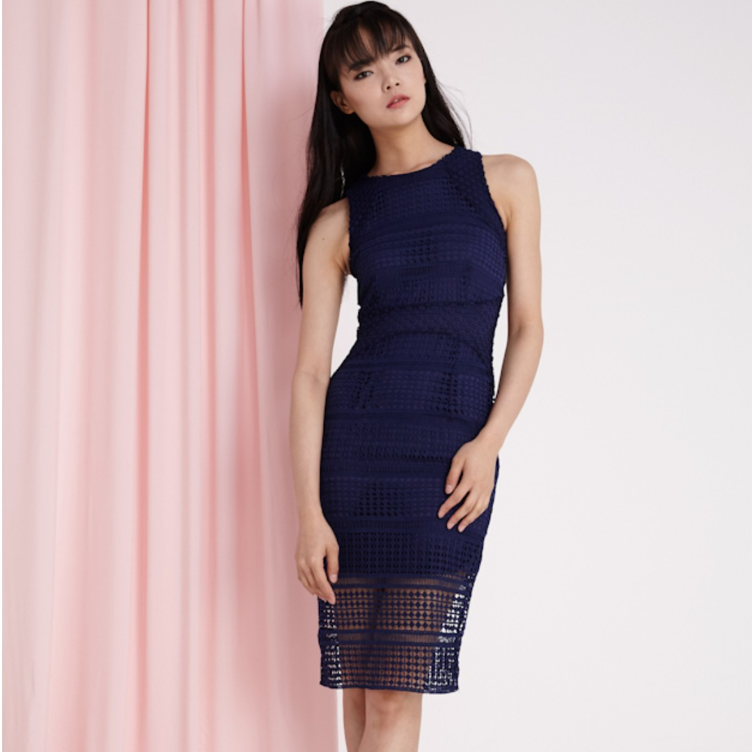 e029f64f50ee Lovengold Seraphina Crochet Dress in Navy, Women's Fashion, Clothes ...