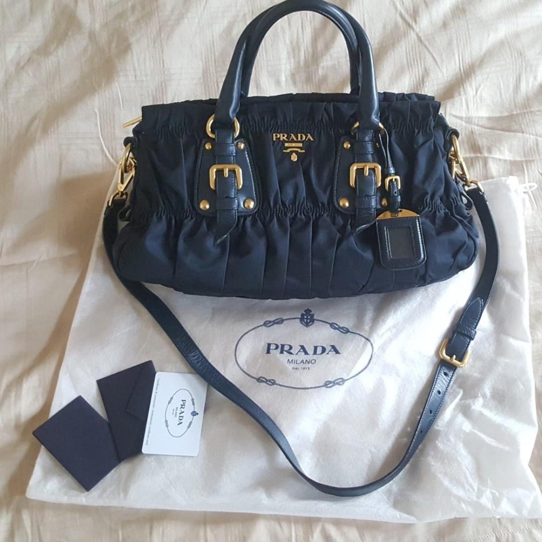 Prada Tessuto Gaufre Satchel bag- Navy Blue 59c778e7df