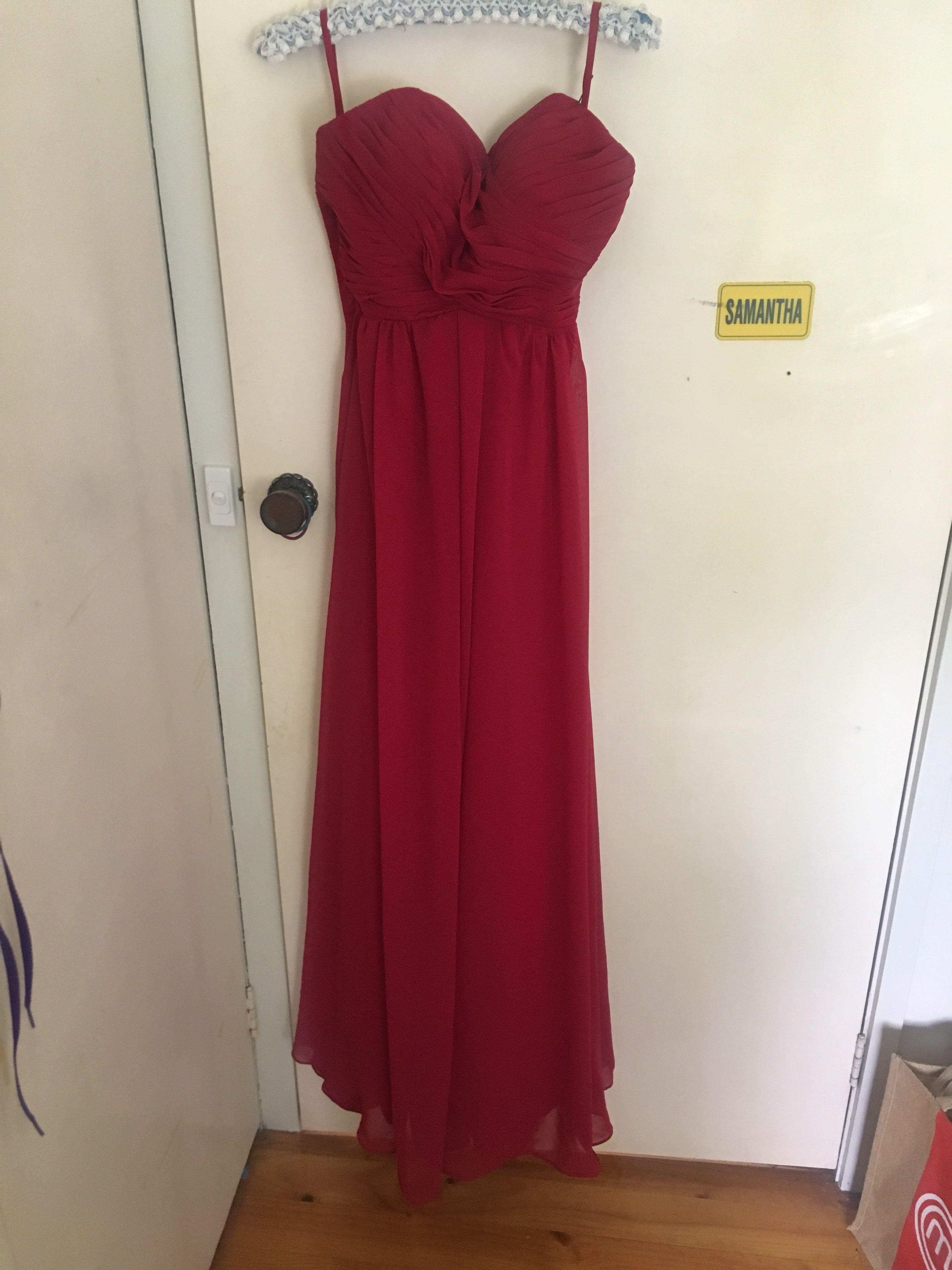Red floor length strapless dress