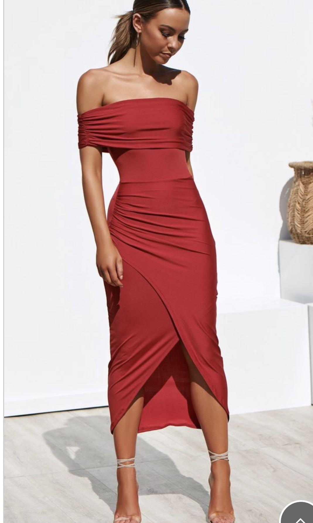 Red Off Shoulder Maxi Dress Size 8
