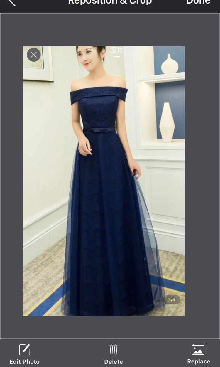 Rent / Sell Off shoulder prom dress in dark
