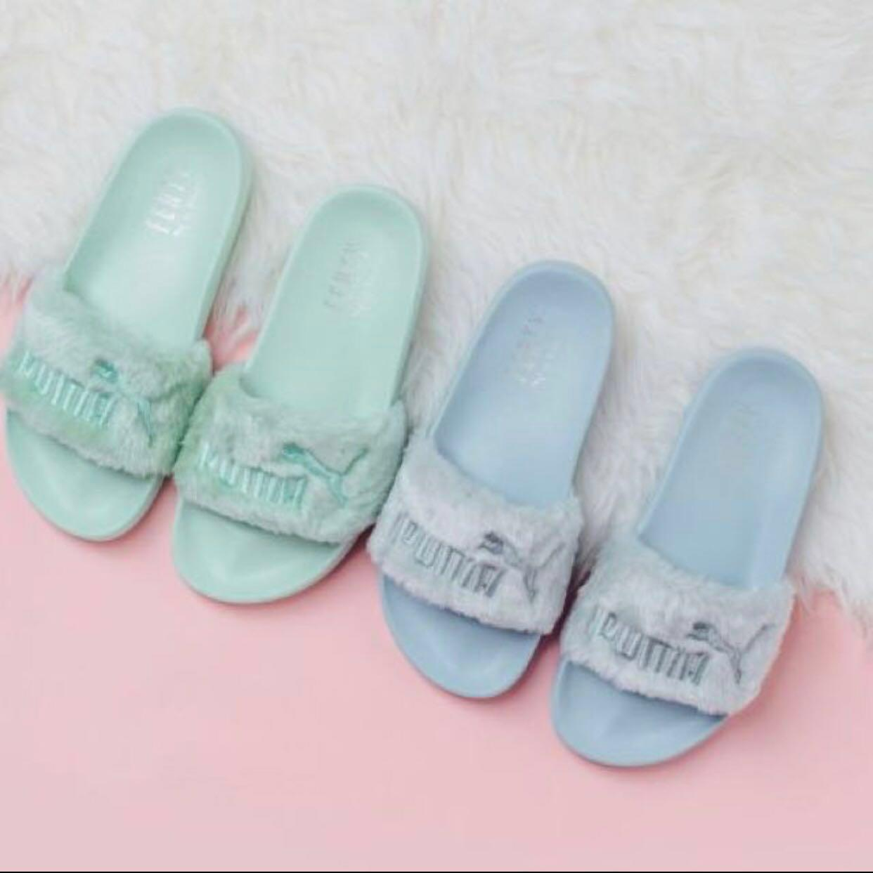 best website 981ae ba2f9 Rihanna x Puma Fenty Bay Fur Slides, Women's Fashion, Shoes ...
