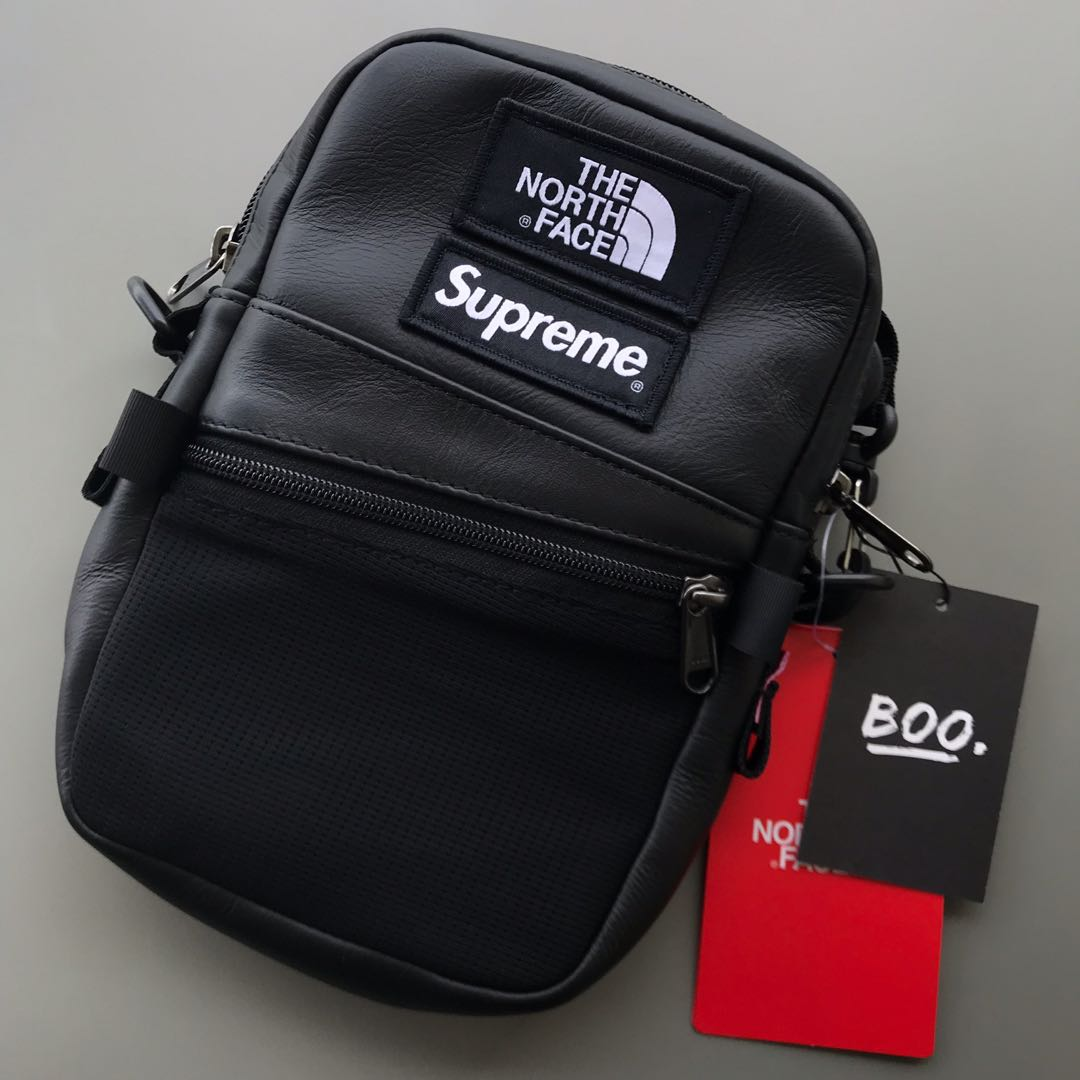 0305672bc Supreme FW18 The North Face Leather Shoulder Bag | Black, Men's ...