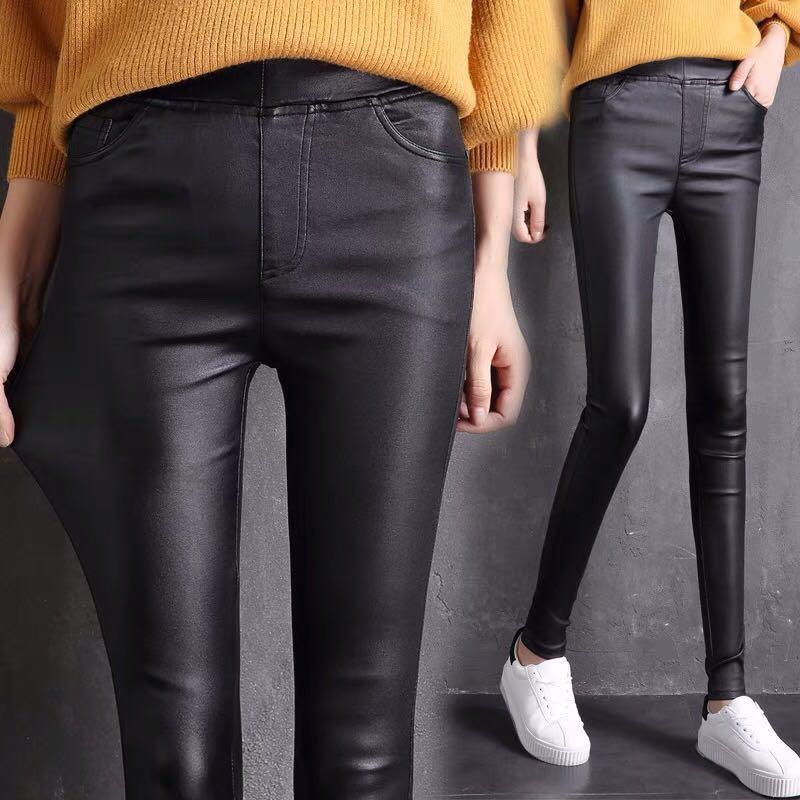 40c47fc8cb XL~4XL) female elastic waist pu leather pants high waist wear ...