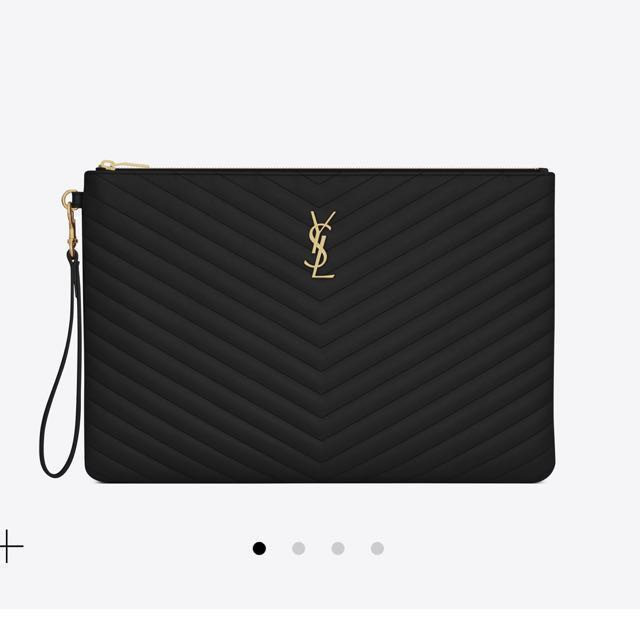 YSL MONOGRAM DOCUMENT HOLDER IN BLACK MATELASSÉ LEATHER 4756c68f23d64