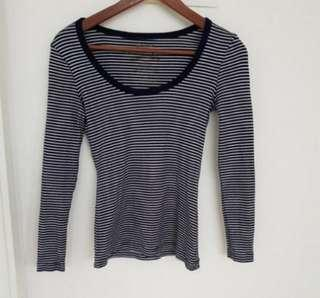 Cotton On Long Sleeved Scoopneck Top in Stripes