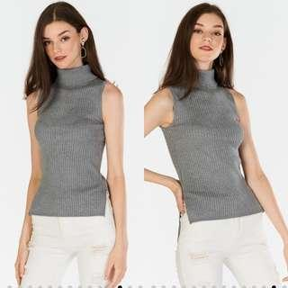 TCL Renata High Collar Knitted Top (Grey) S