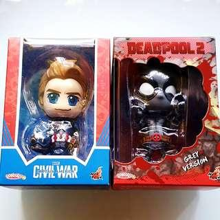 MISB Hot Toys Cosbaby Marvel Deadpool 2 (Grey Version), Captain America Civil War Steve Rogers