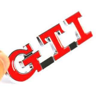 3D Metal GTI RED Trunk Rear Emblem Badge Logo for Cars and Bike