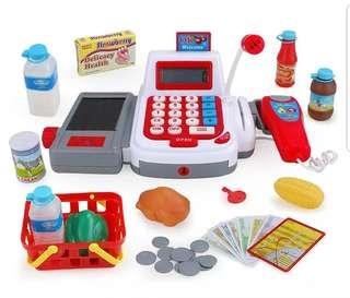 Battery Operated Digital Cash Register Supermarket Cashier with Scanner Money Card Food Educational Toy