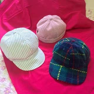 藍綠絨布五分割帽 灰粉燈芯絨瓜皮帽