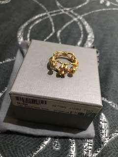 Authentic Brand New Alexander McQueen Two Skeletons Gold Ring