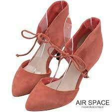 🚚 AIR SPACE 磚紅立領絨布綁帶跟鞋