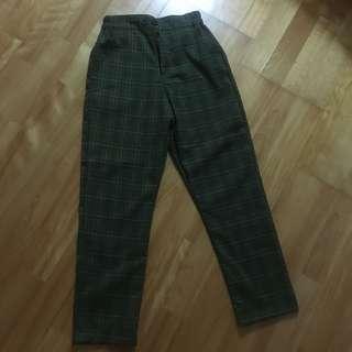 🚚 古著墨綠鬆緊格子褲