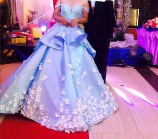 Elegant BLUE ball gown for rent