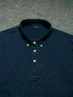 PAUL SMITH Button-down Paisley Print Polo Shirt Size S fit M