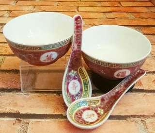舊日:中國 :景德镇瓷碗羹2套 (歲月收藏品)