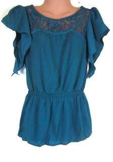 F21 blue green blouse